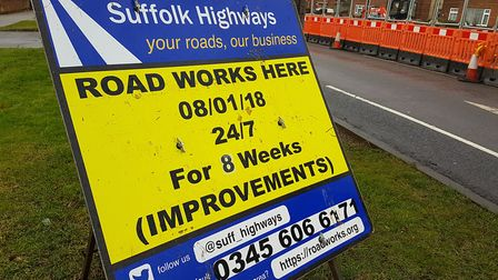 Roadworks on Nacton road, Ipswich. Verbal abuse has increased against road crews Picture: ARCHANT