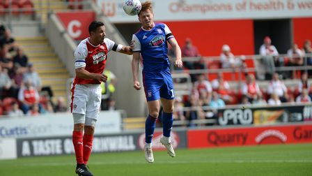 Jon Nolan goes in for a first half header at Rotherham Picture Pagepix