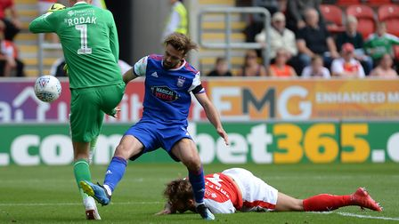 Gwion Edwards goes in for the ball with the goalkeeper at Rotherham Picture Pagepix