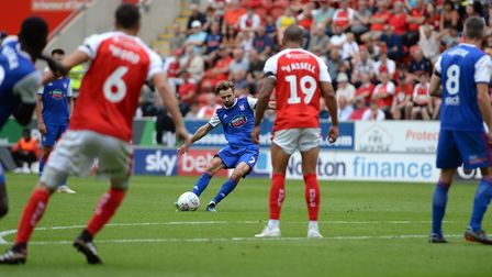 Gwion Edwards stretches the Rotherham goalkeeper with a second half free-kick Picture Pagepix