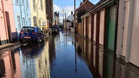 Aldeburgh after Friday night's heavy rainfall, captioned by the photographer: 'The Venice of Suffolk