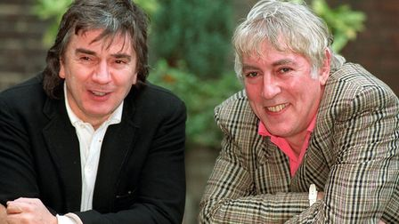 Dudley Moore and Peter Cook (right )in London in 2002 to launch a video of their vintage comedy seri