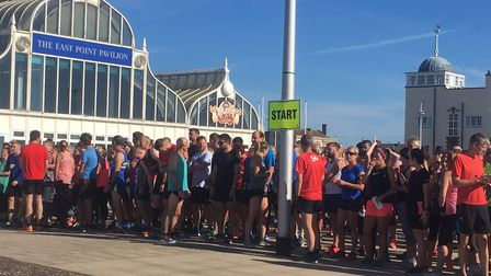 Runners, joggers and walkers congregate for the start of the 145th Lowestoft parkrun on Saturday. P