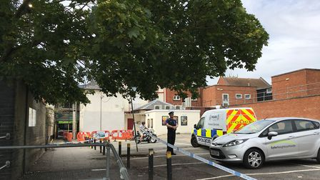 The cordon extends into one of the entrances from Tacket Street car park Picture: ARCHANT