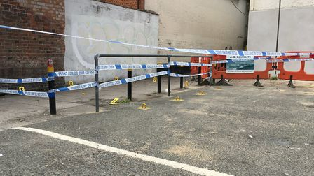 The alley between Upper Brook Street and Tacket Street has been cordoned off by police. Picture: ARC