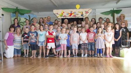Children and leaders at the Psalm Tree Island holiday club in Felixstowe Picture: ROBIN AND MARY PAT
