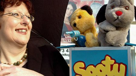 It wasn't raining - Lynne needed an umbrella to fend off Sooty with his water pistol. Picture: ANDY