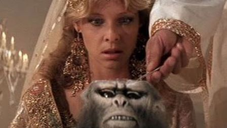 Kate Capshaw as show dancer Willie Scott is served chilled monkey brains in Indiana Jones and the Te