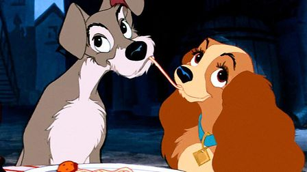 Lady and the Tramp, a classic date night over spaghetti. Photo Disney