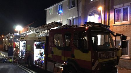 Firefighters tackle a flat fire in Lowestoft Picture: SUFFOLK FIRE AND RESCUE SERVICE