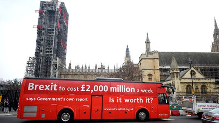 The Brexit 'Facts Bus' pictured in Parliament Square, London, before it began a national day tour Pi