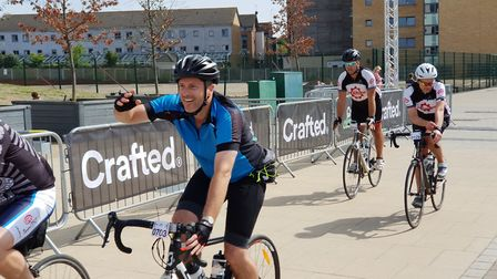 Cyclists celebrate completing the Crafted Classique bike ride Picture: ADAM HOWLETT