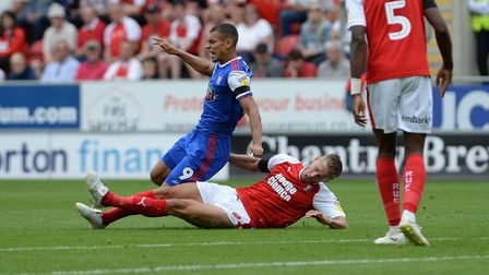 Kayden Jackson is fouled on his debut at Rotherham. Photo: Pagepix