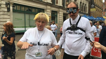 Helen Sismore, from Guide Dogs UK, helps MP Sandy Martin on his blindfold walk Picture: IPSWICH BORO