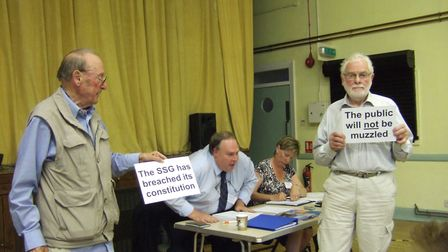 Charles Barnett and Peter Lanyon from the Shut Down Sizewell campaign protesting at the AGM of the S