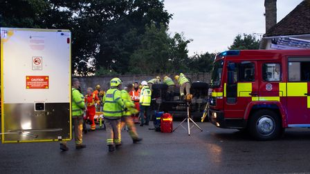 Emergency services at the scene of an accident in Stoke by Nayland Picture: MICHA EDEN ERDESZ