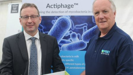 New Anglia LEP CEO Chris Starkie, left, and PBD Biotech chief executive Dr Berwyn Clarke Picture: PB