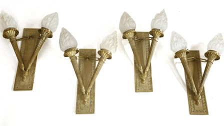 A set of Rod Stewart's four gilt bronze two-branch wall lights. Picture: Sworders Fine Art Auctionee