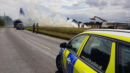 The scene of the fire off the B1118 at Stradbroke. Picture: SUFFOLK POLICE