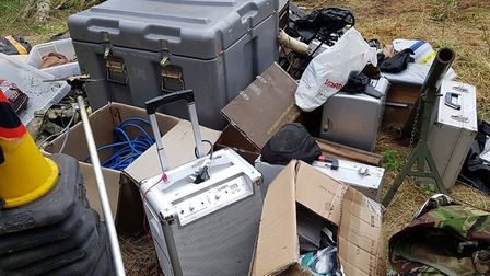 The equipment, including pellet guns and pyrotechnics, were discovered on private land in Brandon. P