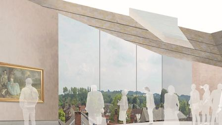 An artist's impression of how the Landscape Studio in the new Gainsborough's House extension will lo