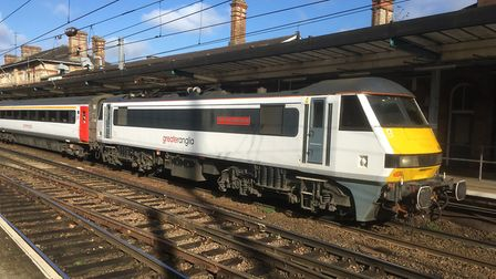 An Intercity train at Ipswich Station heading to London. Stock Image.