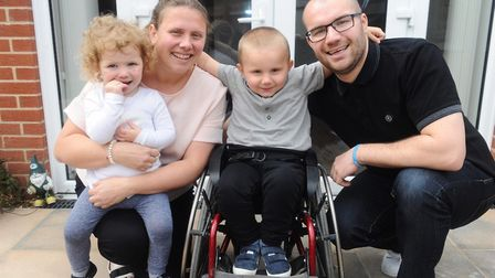 George Woodward pictured with mum Laura, dad Lee and sister ivy Picture: LUCY TAYLOR