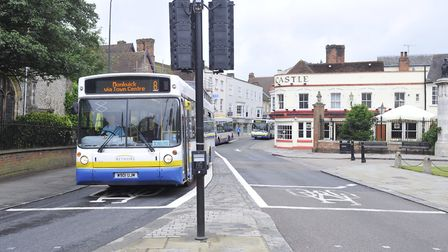 The High Street/East Hill bus lane in Colchester Picture: SU ANDERSON