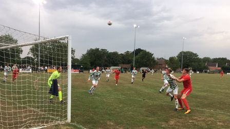 Goalmouth action from Framlingham Town's first-ever home match in the Eastern Counties League Premie