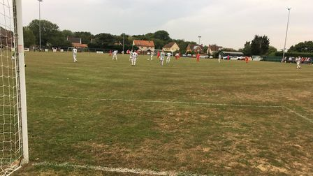 The scene at Badingham Road at kick-off time as Framlingham Town host their first-ever home match at