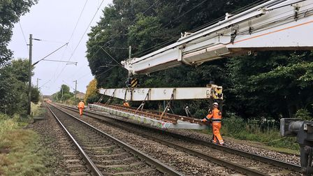 New track for the Great Eastern Main Line in Essex is installed by Network Rail engineers. Picture: