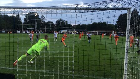 Christy Finch slots home a first-half penalty past keeper Will Appleyard to make it 2-2. Picture: CA