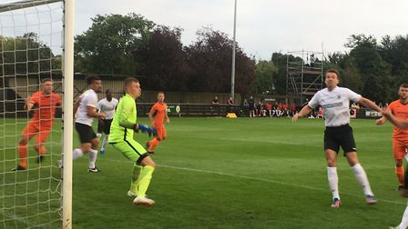 Home keeper Will Appleyard is kept on his toes as Leiston threaten at Royston's Garden Walk. Picture