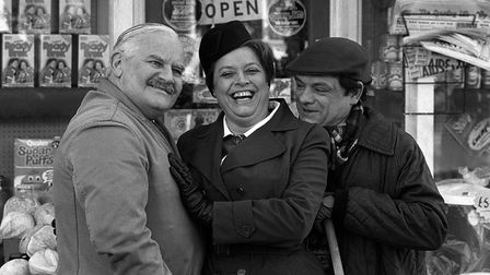 Ronnie Barker, as the BBC's Open All Hours shopkeeper Arkwright, with co-stars Lynda Baron (Nurse Gl