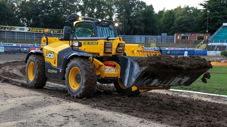 Work underway to clear wet shale from the Foxhall track. Picture: STEVE WALLER