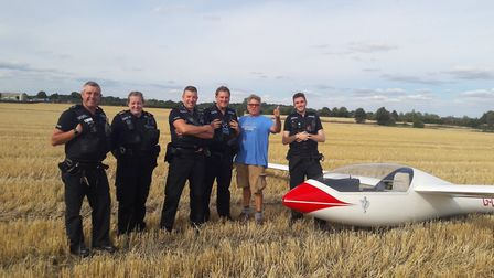 The pilot was forced to make an emergency landing but was not hurt Picture: Suffolk and Sudbury Poli