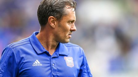Town manager Paul Hurst walks from the pitch at half time. Picture: STEVE WALLER WWW.STEPHENW