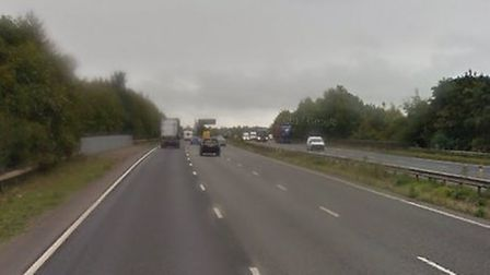 A two-car crash on the A14 eastbound near Newmarket is causing tailbacks Picture: GOOGLE MAPS