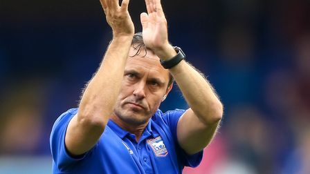 Town manager Paul Hurst applauds the Town fans after the 1-1 draw against Aston Villa. Picture: S
