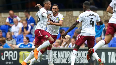 Villa celebrate Jonathan Kodjia's first half goal to give them a 1-0 lead. Picture: STEVE WALLER