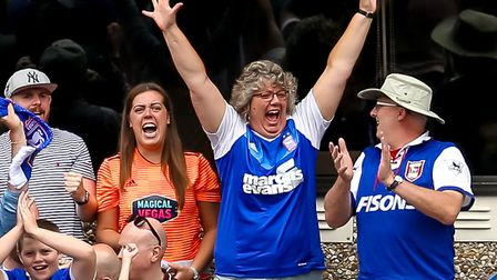Ipswich Town fans react after Trevoh Chalobah had levelled for Town. Picture: STEVE WALLER