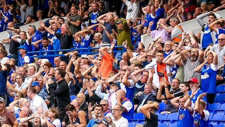 Town fans react after Gwion Edwards had hit the crossbar. Picture: STEVE WALLER