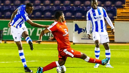 Nicke Kabamba, seen here firing in a shot for former club Colchester United, scored with an injury-t