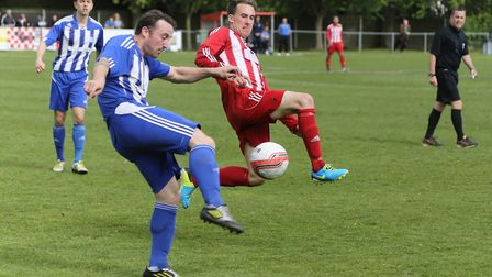 Jordy Matthews, right, was Felixstowe's star player in their defeat at Wakering. Picture: STAN BASTO