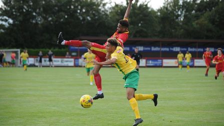 Needham Market's Reece Dobson goes for a header during last weekend's home defeat to Barwell. Pictur
