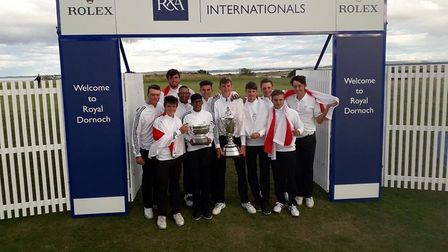 Ipswich's Habebul Islam (front, second from left holding one of the trophies) with the England boys'