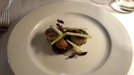 Mark's scallops starter at the Leaping Hare - perfectly cooked. Picture: MARK HEATH