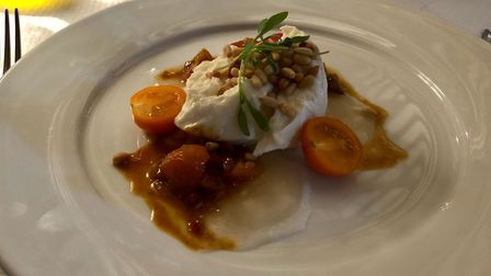 Liz's mozarella starter at the Leaping Hare - needs refining. Picture: LIZ HEATH