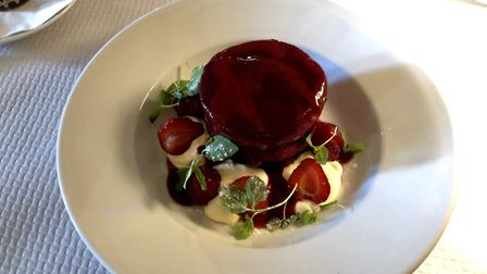 Mark's summer pudding desert at the Leaping Hare - delicious, but filling! Picture: MARK HEATH