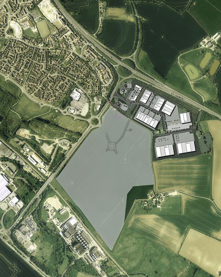 The site of the proposed Stowmarket EAST business park, shown in grey and white alongside the juncti